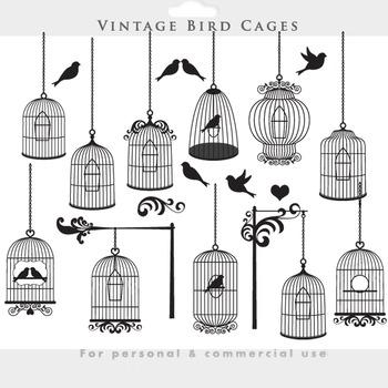 Bird cage clipart - vintage birdcages clip art elegant orn