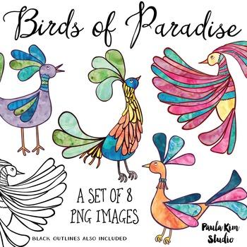 Bird of Paradise Clip Art Set - Rainbow Watercolor