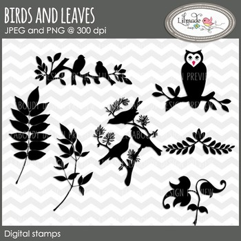 Bird, owl, leaves and tree branch clipart