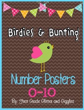 Birdies & Bunting Classroom Number Signs