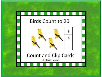 Birds Counting to 20 Count and Clip Task Cards Math Center