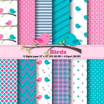 Birds Digital Paper + Clipart