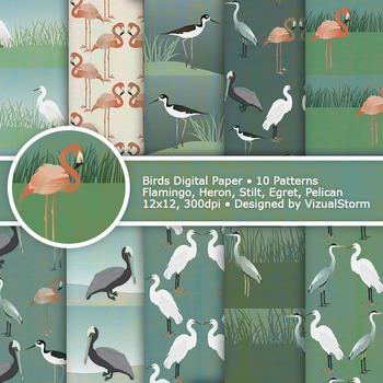 Bird Digital Paper, 10 Wildlife Patterns, Egret, Heron, Fl