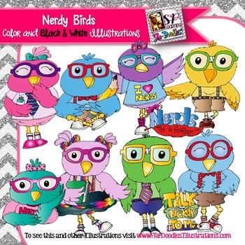 Birds Dressed as Nerds clip art