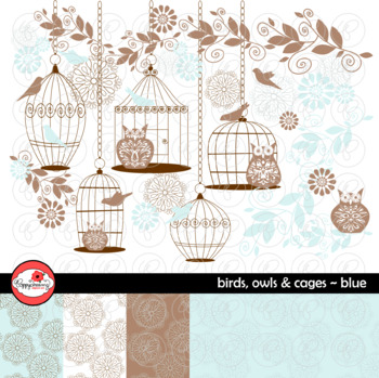 Birds Owls & Cages - Blue Clipart and Digital Papers by Po