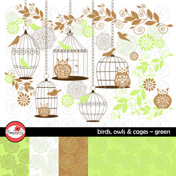 Birds Owls & Cages - Green Clipart and Digital Papers by P
