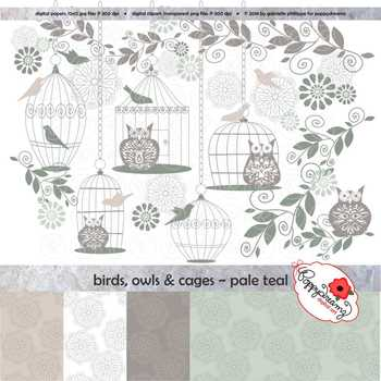 Birds Owls & Cages - Pale Teal Clipart and Digital Papers