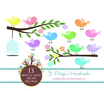 Birds, Tree Branches and Bird Cage Clipart - Birds and Bra