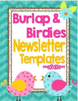 Birds and Burlap Newsletter Templates *editable*