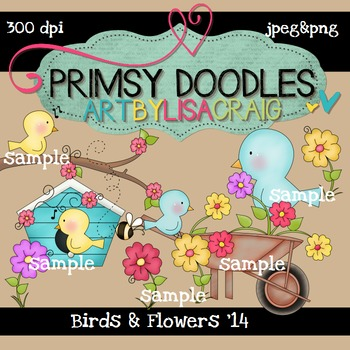 Birds and Flowers 300 dpi clipart