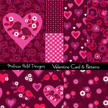 Valentine Patterns With Birds and Hearts
