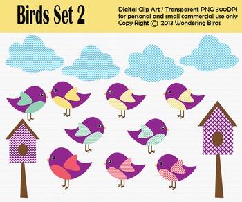 Birds clip art - set of 15 clip arts