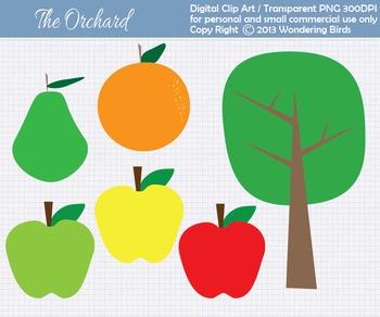 Orchard clip art - set of 6 clip arts