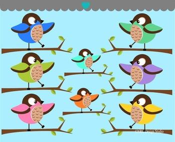 Birds on Tree Branch Clip Art