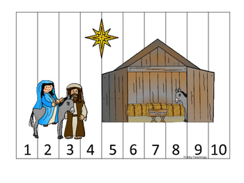 Birth of Jesus 1-10 Number Sequence Puzzle activity. Presc