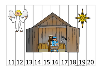 Birth of Jesus 11-20 Number Sequence Puzzle activity. Pres