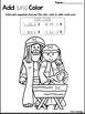 Birth of Jesus Add and Color Worksheets. Preschool-Kinderg
