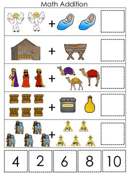 Birth of Jesus Math Addition Game. Preschool Bible History