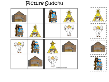 Birth of Jesus Picture Sudoku. Preschool Bible History Cur
