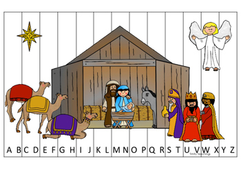 Birth of Jesus printable Alphabet Sequence Puzzle game. Ch