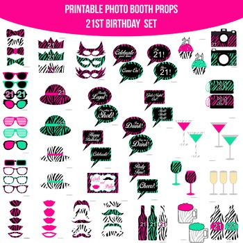 Birthday 21st Pink Zebra Printable Photo Booth Prop Set