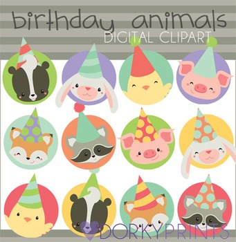Birthday Animal Circles Digital Clip Art