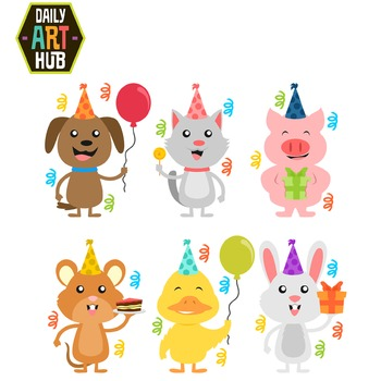 Birthday Animals Clip Art - Great for Art Class Projects!