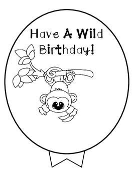 Birthday Balloons - (Jungle Theme)  Freebie