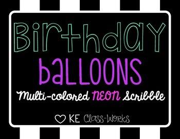 Birthday Balloons - Neon Scribble