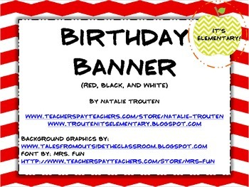 Birthday Banner in red and white