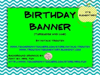 Birthday Banner in turquoise and lime