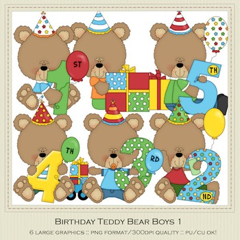 Birthday Bears Boys Clip Art Graphics by Alice Smith