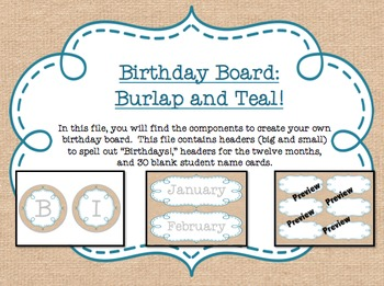 Birthday Board - Burlap and Teal