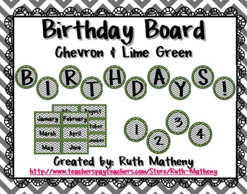 Birthday Board - Chevron & Lime Green