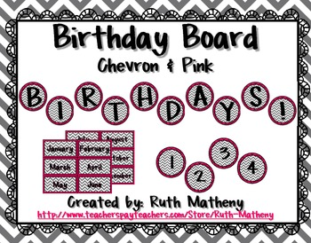 Birthday Board - Chevron & Pink
