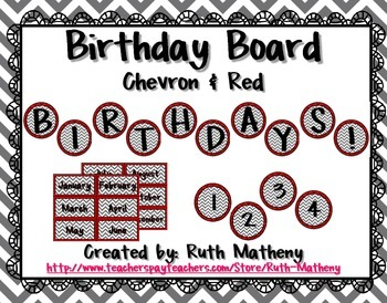 Birthday Board - Chevron & Red