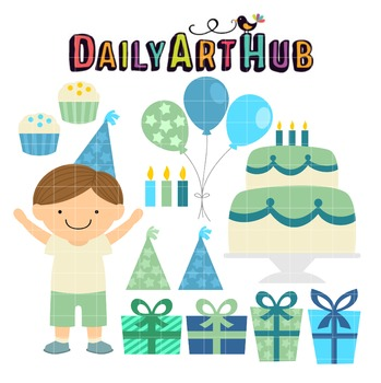 Birthday Boy Clip Art - Great for Art Class Projects!