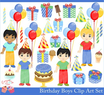 Birthday Boys Clipart Set