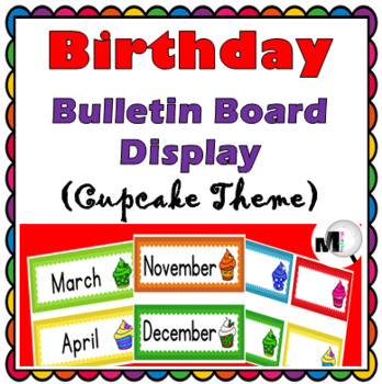 Birthday Display - Monthly Themed (Cupcake Theme) -