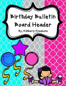 Birthday Bulletin Board Header - Bright Turquoise, Gray, a
