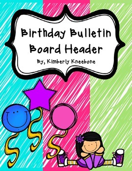 Birthday Bulletin Board Header - Bright Turquoise, Pink, G