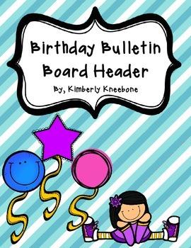 Birthday Bulletin Board Header - Diagonal Blue Stripes