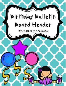 Birthday Bulletin Board Header - Turquoise Quatrefoil
