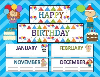 Birthday Bulletin Board Set Celebrating Class Birthdays St