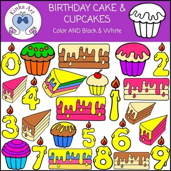 Birthday Cake Candles & Cupcake Clip Art