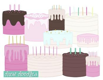 Birthday Cake Digital Clip Art Set