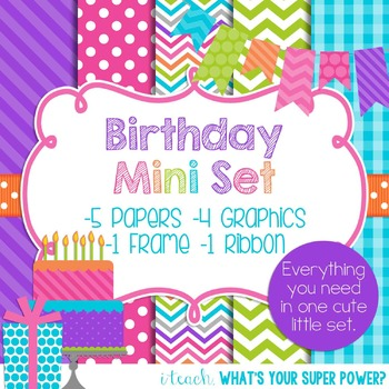 Digital Paper and Frame Mini Set Birthday