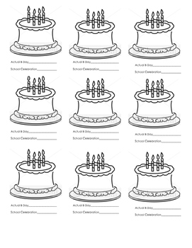 **FREEBIE**  Birthday Cakes for Use in Pocket Chart Calendar