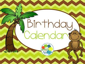 Birthday Calendar in Monkey Theme