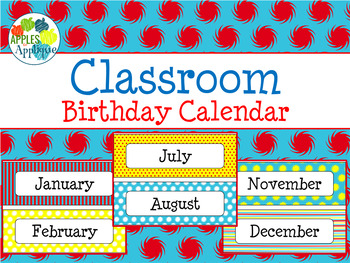 Birthday Calendar in Primary Color Theme